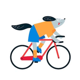Balade en chien à vélo. vélo de cycliste.