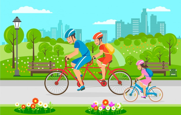 Balade familiale en vélo dans le parc municipal en été.