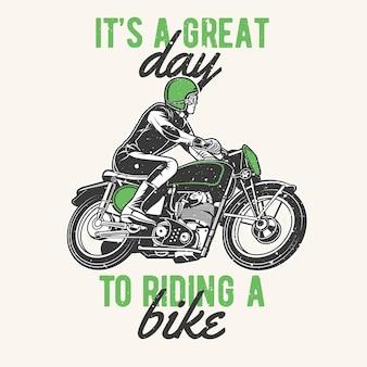 Balade en moto vintage dessinée à la main avec effet grunge et fond d'éclat d'étoile
