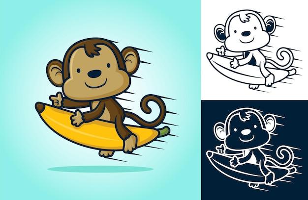 Balade de singe mignon sur la banane volante. illustration de dessin animé dans le style d'icône plate
