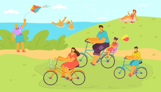 Balade à vélo de vacances à la nature de dessin animé avec de l'eau, famille à l'illustration de vacances. gens homme femme voyage, voyage en plein air. personne heureuse à vélo, transport à cheval avec roue.