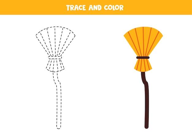 Balai de dessin animé de trace et de couleur. feuille de travail pour les enfants.