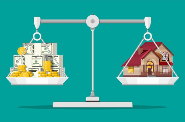 Balance des balances avec maison privée et argent. acheter une maison. immobilier. maison en bois de banlieue, piles de dollars et pièces d'or.