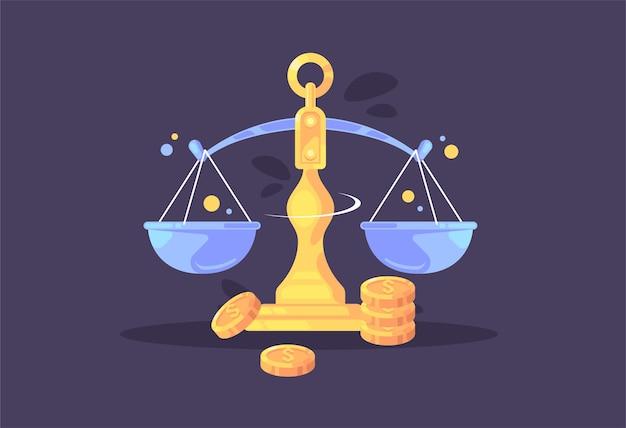 Balance. économique et financière. concept d'entreprise.