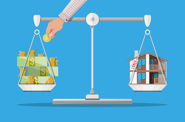 Balance avec maison et argent. immobilier