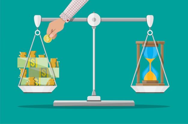 Balance pesant argent et temps