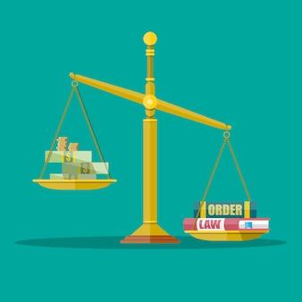 Balances avec argent comptant et loi, carnets de commandes