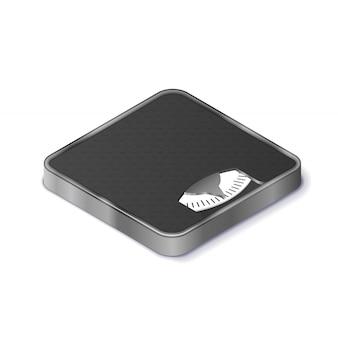 Balances au sol pour icône isométrique réaliste de mesure du poids