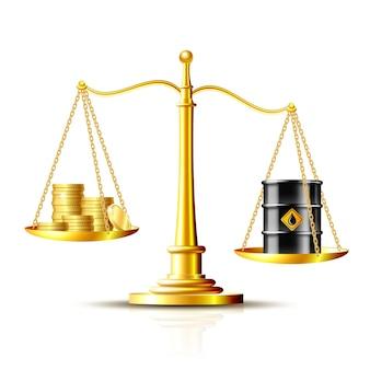 Balances classiques avec un baril de pétrole et des pièces d'or, illustration vectorielle isolée sur fond blanc