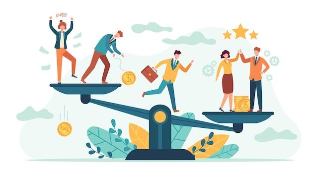Balances d'équilibre des employés. comparaison des bonnes et des mauvaises affaires avec des personnes minuscules. l'employé ou le client choisit l'équipe de travail. concept de vecteur de succès de travail d'équipe. illustration équilibre entreprise professionnelle