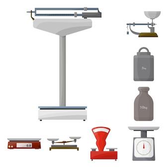 Balances pour peser le jeu d'éléments de dessin animé. illustration isolée balance balance. éléments de pesage et de balances.