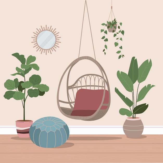 Balançoire en rotin avec des plantes. intérieur de maison confortable. illustration de dessin animé plat