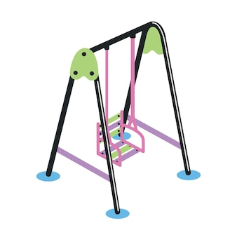 Balançoire avec siège suspendu isolé sur fond blanc. dispositif ou équipement de terrain de jeu extérieur pour les activités de jeu et le divertissement des enfants. illustration vectorielle colorée en style cartoon plat.