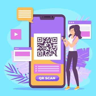 Balayage de code qr sur le concept mobile
