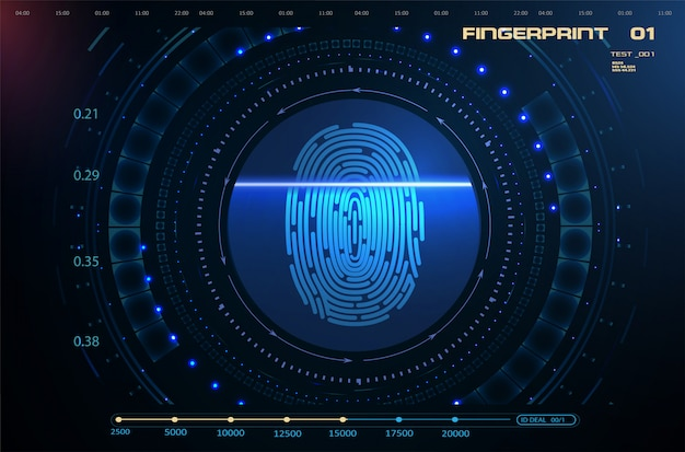 Balayage des doigts dans le style futuriste d'interface utilisateur graphique hud