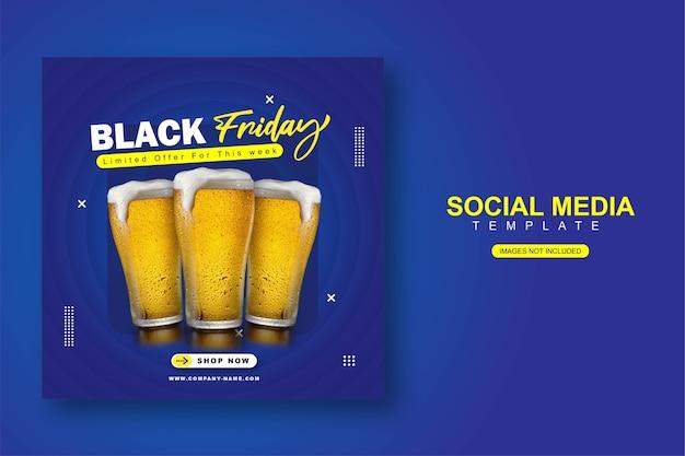 Balck friday modèle de bannière de publication instagram sur les médias sociaux