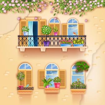 Balcon de façade de maison vintage