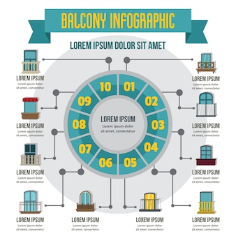 Balcon infographique, style plat
