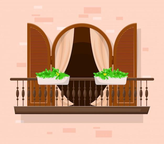 Balcon avec portes.