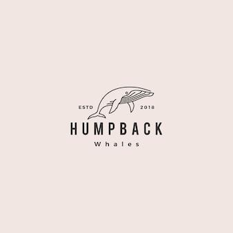 Baleine à bosse logo hipster vintage rétro