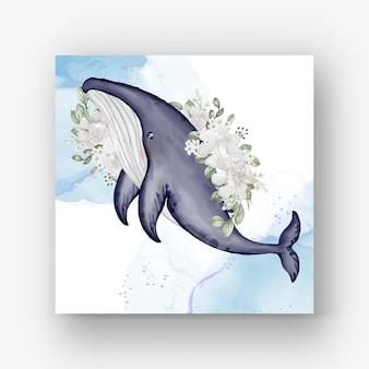 Baleine à bosse mignonne avec illustration aquarelle fleur blanche