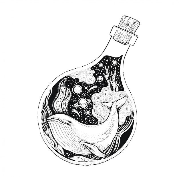 Baleine dans le dessin au trait noir de la bouteille. croquis de style vintage pour l'impression de t-shirt ou de tatouage.