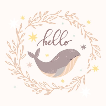 Baleine dans une guirlande bonjour