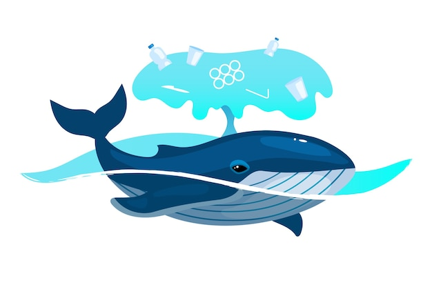 Baleine dans l'océan avec l'icône de concept plat de déchets plastiques. problème de pollution de l'environnement. animal marin et ordures dans l'autocollant de l'eau de mer, clipart. illustration de dessin animé isolé sur fond blanc