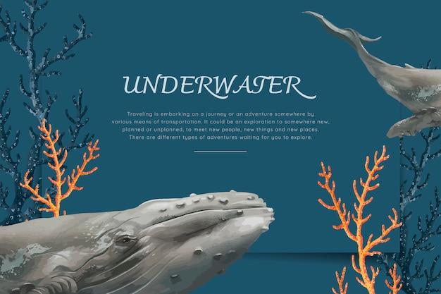 Baleine dessinée à la main