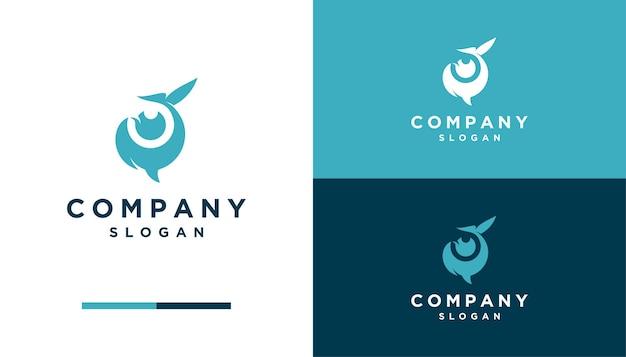 Baleine de l'espace négatif avec œil, création de logo d'objectif