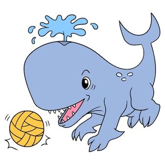 Une baleine géante jouant un sport de ballon de football, art d'illustration vectorielle. doodle icône image kawaii.