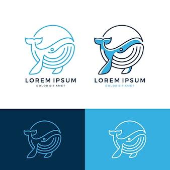Baleine Logo Emblème Dessin Au Trait En Ligne Télécharger Vecteur Premium