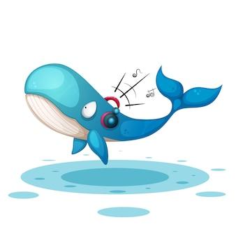 Baleine mignonne drôle écouter de la musique.