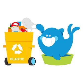 La baleine mignonne trie le personnage de dessin animé de vecteur de déchets en plastique isolé sur fond blanc.