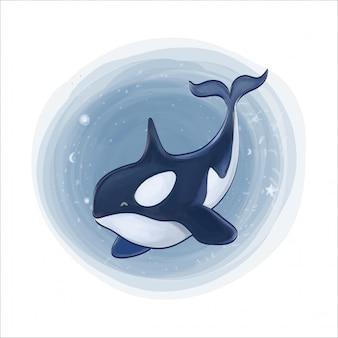 Baleine nageant en pleine mer