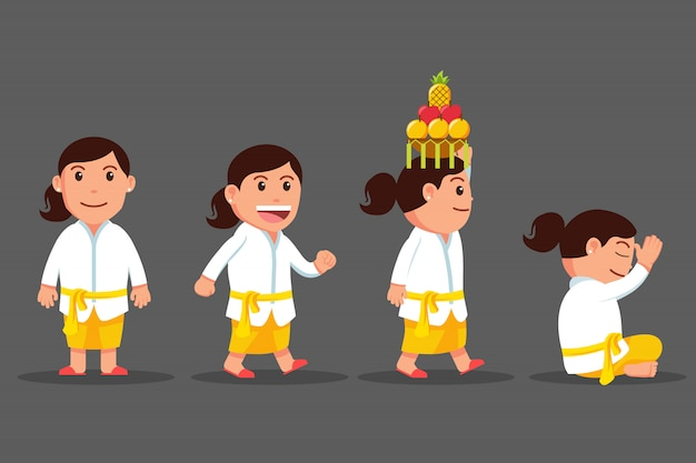 Bali girl cute cartoon character set