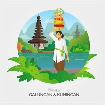 Bali - Indonésie Carte De Voeux Happy Galungan Vecteur Premium