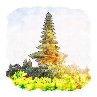 Bali indonésie croquis aquarelle illustration dessinée à la main