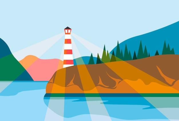 Balise sur le projecteur de navigation de phare de rivage