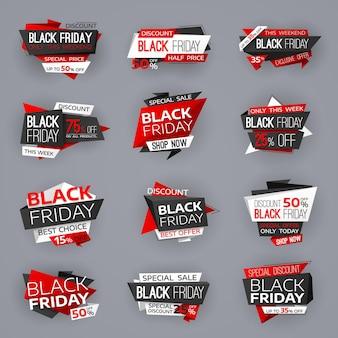 Balises de bannières de vente black friday, offres de magasin