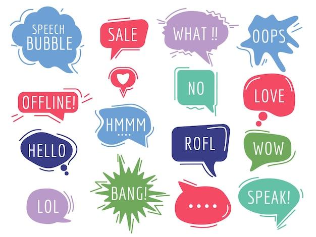 Balises de communication. bulles de dessin animé avec son texte de phrase d'humour dessinée à la main