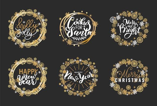 Balises dorées joyeuses fêtes
