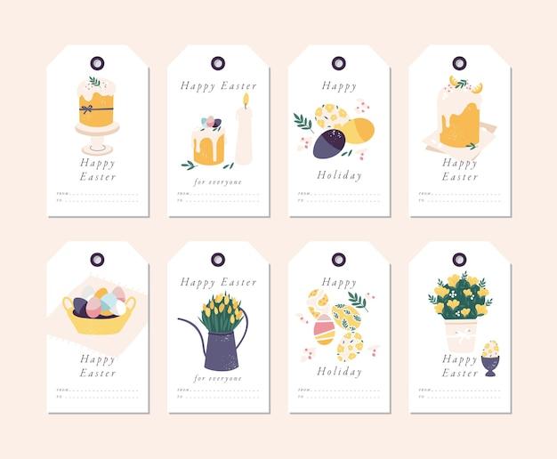 Balises de vacances joyeuses pâques avec typographie et icône colorée.