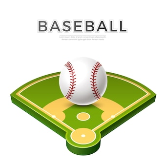 Balle de baseball réaliste sur terrain de jeu vert