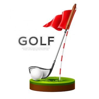 Balle et club de golf affiche vecteur tournoi de golf