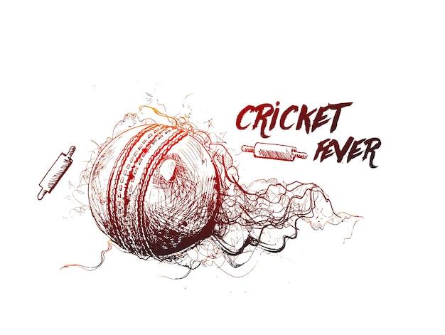 Balle de cricket croquis illustration vectorielle de conception graphique