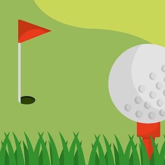 Balle de drapeau rouge sur le terrain de golf