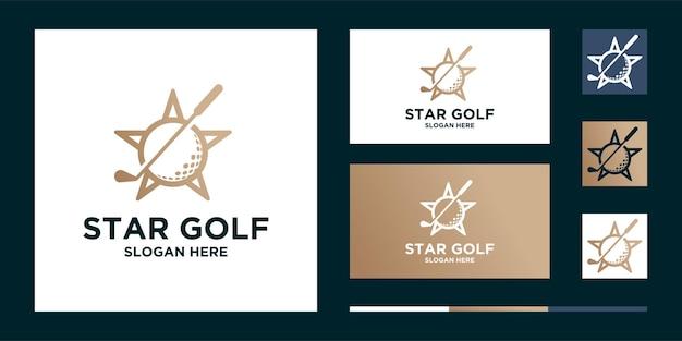 Balle étoile de golf et logo de sport