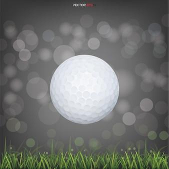 Balle de golf blanche dans le champ d'herbe verte et arrière-plan flou flou clair. illustration vectorielle.