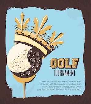 Balle de golf avec couronne d'or